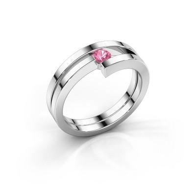Foto van Ring Nikia 950 platina roze saffier 3.4 mm