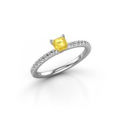 Foto van Verlovingsring Crystal ASS 2 950 platina gele saffier 4.5 mm