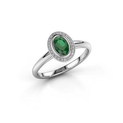 Verlovingsring Noud 1 OVL 950 platina smaragd 6x4 mm