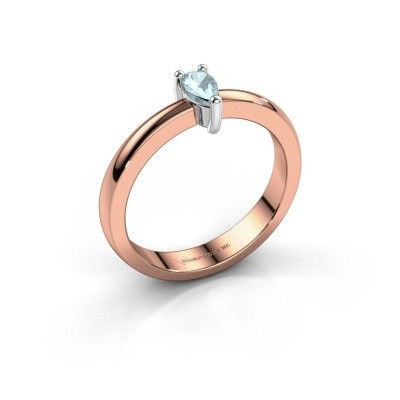 Foto van Verlovingsring Florentina Pear 585 rosé goud aquamarijn 7x5 mm