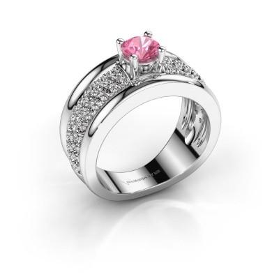 Foto van Ring Alicia 950 platina roze saffier 5 mm