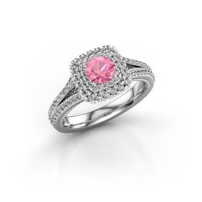 Foto van Verlovingsring Annette 585 witgoud roze saffier 5 mm