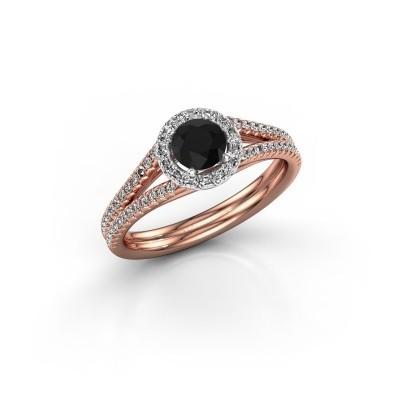 Foto van Verlovingsring Verla rnd 2 585 rosé goud zwarte diamant 0.825 crt