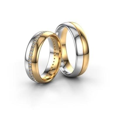 Bild von Eheringe set WH0203LM36AP ±6x1.7 mm 14 Karat Weißgold Diamant 0.44 crt