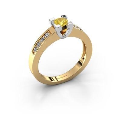 Aanzoeksring Anne 2 585 goud gele saffier 4.2 mm