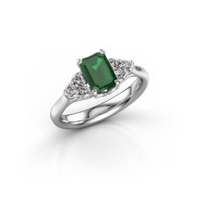 Foto van Aanzoeksring Myrna EME 925 zilver smaragd 7x5 mm