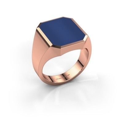 Foto van Zegelring Lars 5 375 rosé goud lapis lazuli 16x13 mm