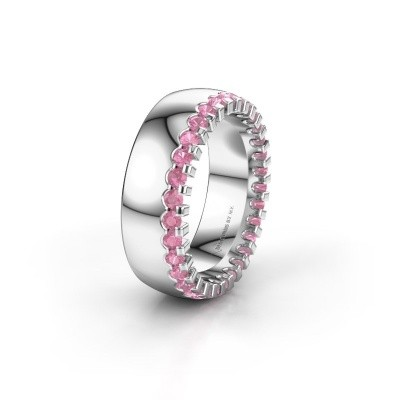 Wedding ring WH6120L27C 585 white gold pink sapphire ±7x2.2 mm