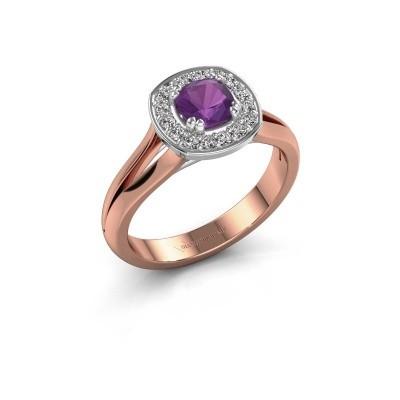 Foto van Ring Carolina 1 585 rosé goud amethist 5 mm