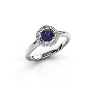 Promise ring Noud 1 RND 950 platina saffier 4.7 mm