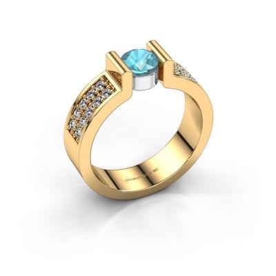 Engagement ring Isabel 3 585 gold blue topaz 5 mm