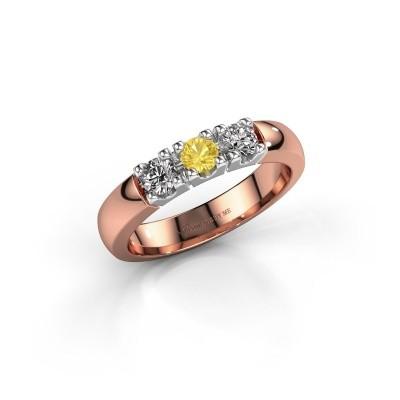 Foto van Verlovingsring Rianne 3 585 rosé goud gele saffier 3.4 mm