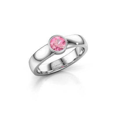 Foto van Ring Ise 1 950 platina roze saffier 4.7 mm