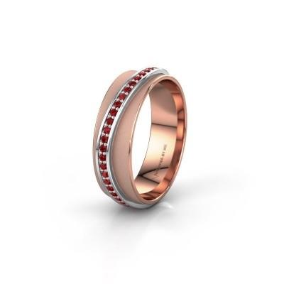 Huwelijksring WH2126L 585 rosé goud robijn ±6x1.7 mm