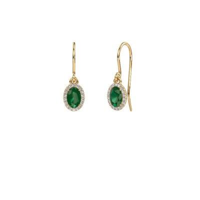 Oorhangers Seline ovl 375 goud smaragd 6x4 mm