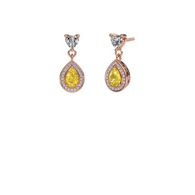 Drop earrings Susannah 375 rose gold yellow sapphire 6x4 mm
