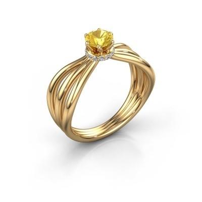 Verlovingsring Kimi 375 goud gele saffier 5 mm