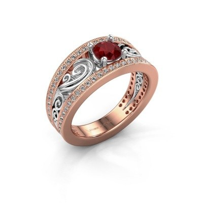 Foto van Verlovingsring Julliana 585 rosé goud robijn 5 mm