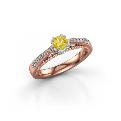 Verlovingsring Rozella 585 rosé goud gele saffier 4.2 mm
