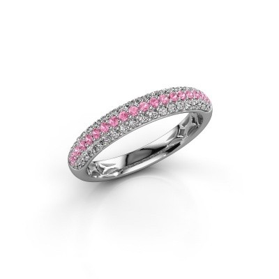 Foto van Ring Emely 2 585 witgoud roze saffier 1.3 mm