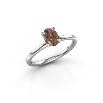 Foto van Verlovingsring Crystal OVL 1 950 platina bruine diamant 0.80 crt