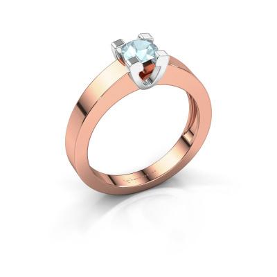 Promise ring Anne 1 585 rosé goud aquamarijn 4.7 mm