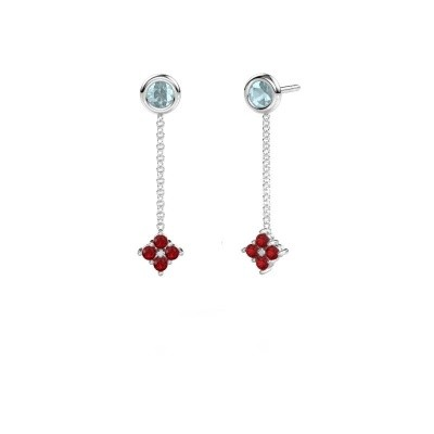 Picture of Drop earrings Ardith 950 platinum ruby 2 mm