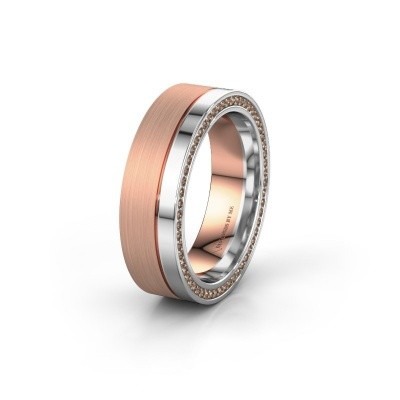 Wedding ring WH0313L16B 585 rose gold brown diamond ±0.24x0.08 in