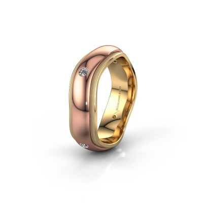 Trouwring WH2050L26DP 585 rosé goud diamant ±6x2.4 mm