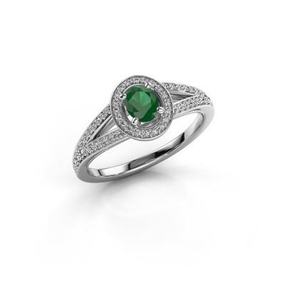 Verlovings ring Angelita OVL 585 witgoud smaragd 6x4 mm