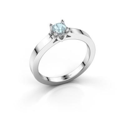 Foto van Belofte ring Eliz 950 platina aquamarijn 4.2 mm
