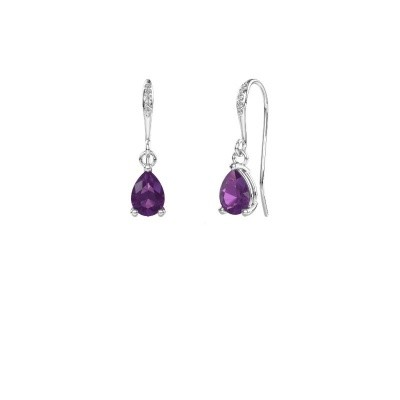 Picture of Drop earrings Laurie 2 950 platinum amethyst 7x5 mm