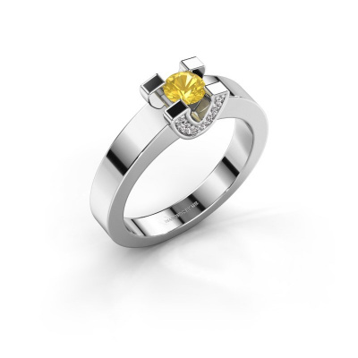 Verlovingsring Jasmijn 1 585 witgoud gele saffier 4.2 mm