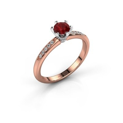 Verlovingsring Tiffy 2 585 rosé goud robijn 4.7 mm