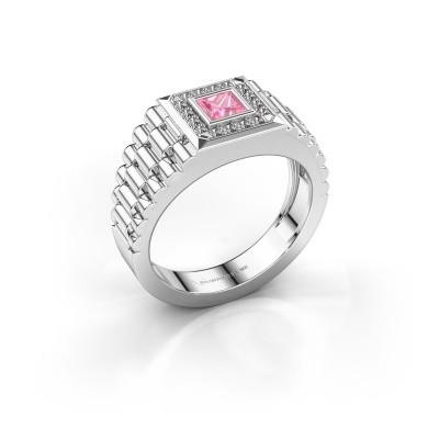 Picture of Rolex style ring Zilan 585 white gold pink sapphire 4 mm