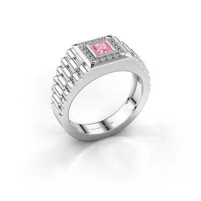 Heren ring Zilan 585 witgoud roze saffier 4 mm
