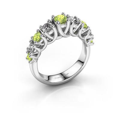 Engagement ring Fatima 950 platinum peridot 3.7 mm