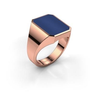 Foto van Zegelring Lars 4 375 rosé goud lapis lazuli 15x12 mm