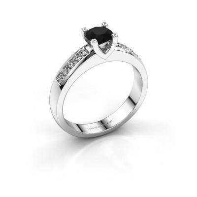 Bague de fiançailles Isabella 2 585 or blanc diamant noir 0.76 crt