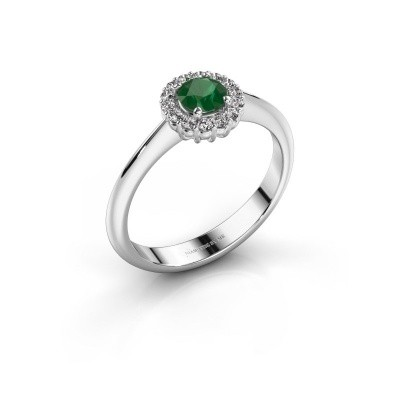 Verlovingsring Anca 585 witgoud smaragd 4.2 mm