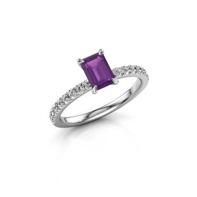 Picture of Engagement ring Crystal EME 2 950 platinum amethyst 6.5x4.5 mm