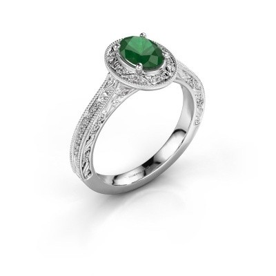 Foto van Verlovingsring Alice OVL 585 witgoud smaragd 7x5 mm