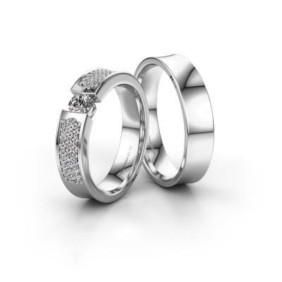 Foto van Trouwringen set WH2100LM ±5x2 mm 14 karaat witgoud diamant 0.25 crt