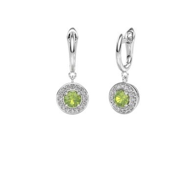 Drop earrings Ninette 1 950 platinum peridot 5 mm