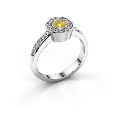 Foto van Ring Adriana 2 585 witgoud gele saffier 4 mm