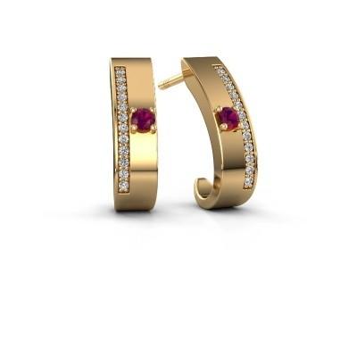 Oorbellen Vick1 375 goud rhodoliet 2.4 mm