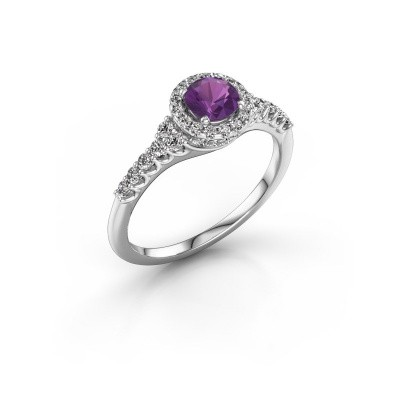 Picture of Engagement ring Loralee 925 silver amethyst 5 mm