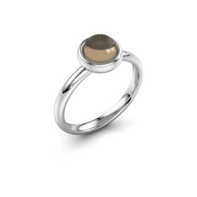Ring Blossom 925 silver smokey quartz 6 mm