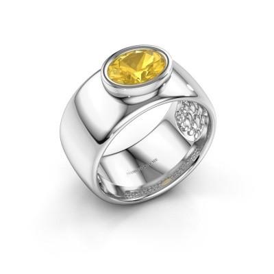 Ring Anouschka 925 Silber Gelb Saphir 8x6 mm