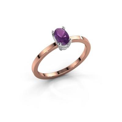 Foto van Ring Lynelle 1 585 rosé goud amethist 6x4 mm